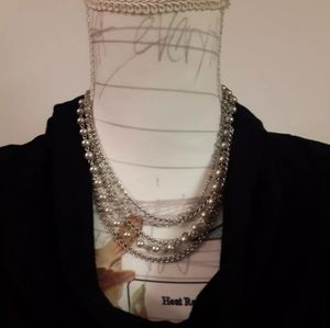 Multi-layered Pearl Silver Plated Chick Chic Glamo